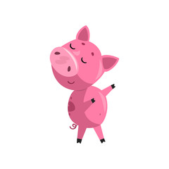 Pink funny skeptical cartoon baby piglet, cute little piggy character vector Illustration on a white background