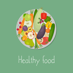 Healthy food. Plate with vegetables and fruits on a green background. There are carrots, cucumber, tomato, eggplant, zucchini, apple, pear, cherries and other products in the picture. Vector image.
