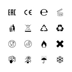 Set of packaging symbols and marks. Vector
