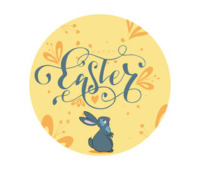 Happy Easter hand lettering sign with illustration of spring elements and bunny