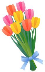 チューリップの花束 カラフル