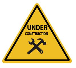 under construction triangular warning sign on white background. under construction sign. under construction road symbol.