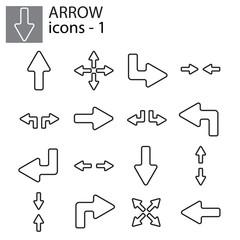 Web icons set - Line arrows black on white background