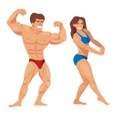 Bodybuilders characters muscular bearded man illustration set fitness models posing bodybuilding vector illustration.