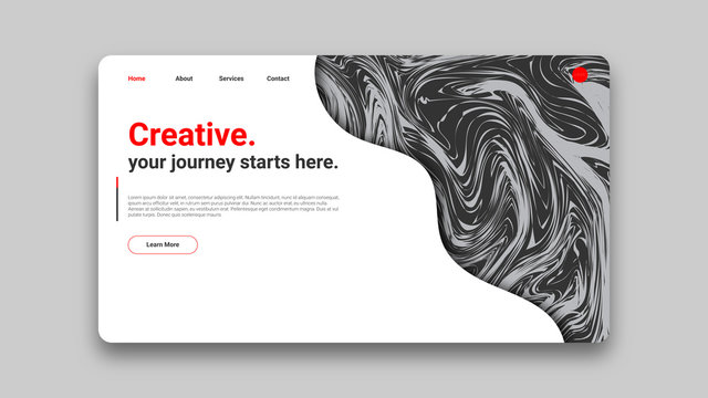 Creative - Clean & Simple Landing Page Design Template. Black, White & Red Abstract Twirl Texture Concept.