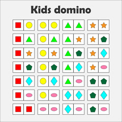 Domino game with pictures (geometric shapes) for children, fun education game for kids, preschool  activity, task for the development of thinking, vector illustration