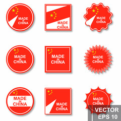 Flag of China. Map. Symbol of the state. For your design. Rectangle.