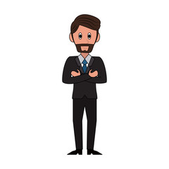 Businessman with suit cartoon vector illustration graphic design