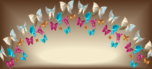 Arch of jewelry butterflies in the form of gems, mother of pearl, rubies, sapphires and gold on a gold