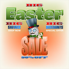 Holiday background design with 3d texts, figurative Easter egg and apple flowers for Easter sales, commercial event; Vector illustration