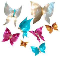 butterflies and cute hearts in the form of gems, mother of pearl, rubies, sapphires and gold