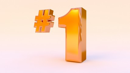 NUMBER ONE. In gold 3D rendered font.
