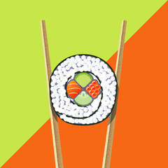 Sushi roll with chopsticks on the bright background