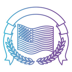 united states flag with half crown of olive branches with ribbon on top in color gradient silhouette from purple to blue