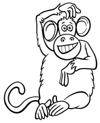funny monkey character cartoon coloring book