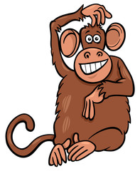 funny monkey animal character cartoon illustration
