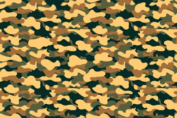 Camouflage seamless pattern. Military clothing texture background with yellow, green and brown foliage. Army style camouflage print fo textile industry