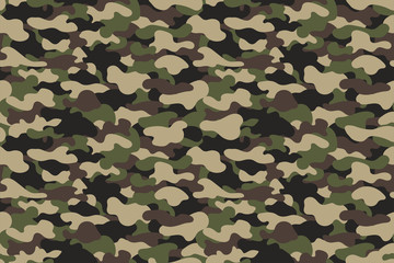 Camouflage seamless pattern. Military clothing texture background with green and brown foliage. Army style camouflage print fo textile industry
