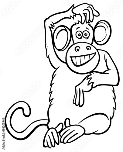 funny monkey character cartoon coloring book\