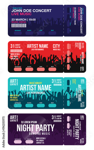 set of concert ticket templates concert party or festival ticket