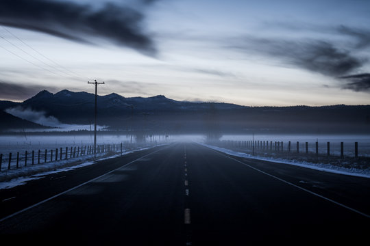 Dark Foggy Road at Crater Lake National Park in Oregon