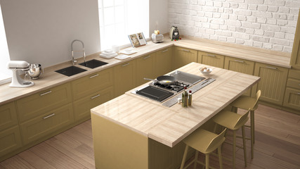 Classic kitchen with modern wooden details and big window, white and yellow minimalistic interior design, top view