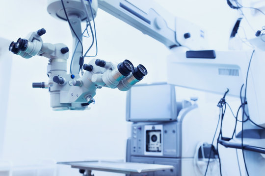 ophthalmology operation room. surgery. surgical microscope