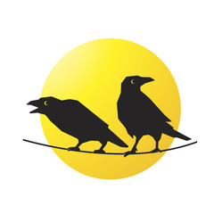 silhouette two crows over yellow circle vector illustration