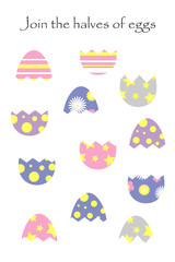 Find the second part of easter eggs in cartoon style for children, join the halves, preschool worksheet activity for kids, task for the development of logical thinking, vector illustration