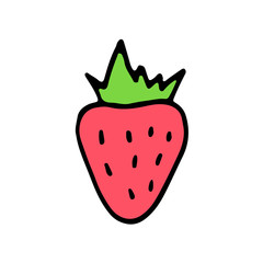 Sweet cartoon hand drawn strawberry. Cute vector colorful doodle strawberry. Isolated funny strawberry drawing on white background.
