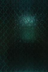 Vintage clouded glass with a slightly blurred abstract pattern. Vintage Cyan Textured Dark Background