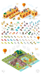 Build Your Own City . Set of Isolated Minimal City Vector Elements on White Background