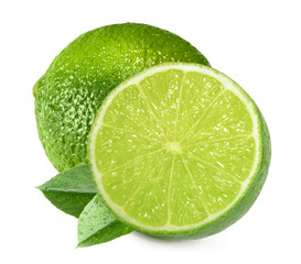 Limes isolated on white background