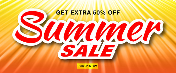 Summer sale template vector banner with sun rays.  Glow horizontal sunlight orange background. Sunshine glare heat with flash rays and bubbles backdrop. Campaign sale 50% off. Vector illustration.