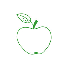 Linear cartoon hand drawn apple. Cute vector colorful doodle apple. Isolated green apple drawing on white background.