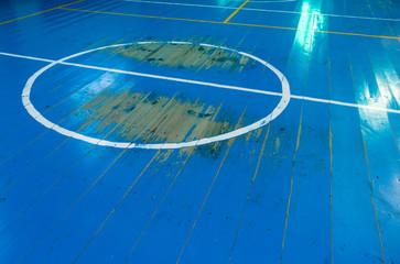old wooden basketball court floor