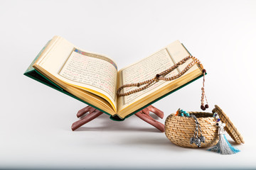holy book for Muslims. quran concept. rosary and quran.