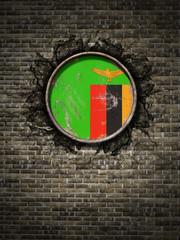 Old Republic of Zambia flag in brick wall