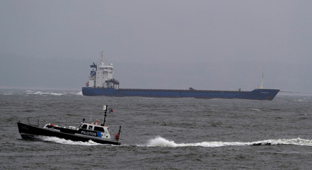 """Spanish cargo ship """"Betanzos"""" is seen during the operation to refloat it near the port in Lisbon"""
