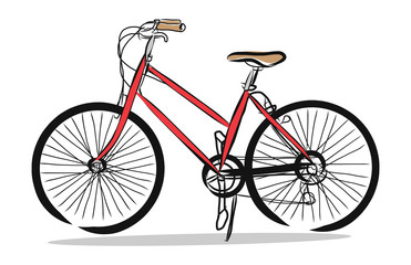 Hand drawn of Red bicycle, illustration