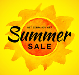 Vector summer sale template banner with watercolor sun on yellow background. Yellow sun with realistic paper watercolor texture. Campaign sale 50% off. Aquarelle design element. Vector illustration.