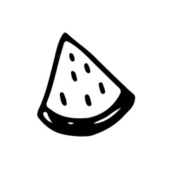 Linear cartoon hand drawn watermelon. Cute vector black and white doodle watermelon. Isolated monochrome watermelon silhouette on white background.