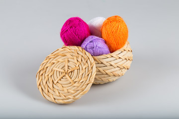 Handicraft and needlework concept. wool yarn concept.Colorful wool yarn on the white background.