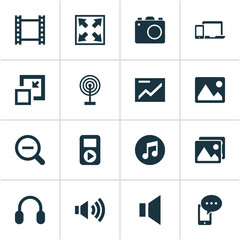 Multimedia icons set with image, broadcast, volume up and other picture  elements. Isolated vector illustration multimedia icons.