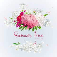 Pink, red and white summer flowers gretting card