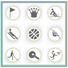 Sport Icon Set with pole vaulting , skiing , ping pong and sledging