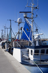 Laesoe / Denmark: Fishing boats at the pier in Oesterby Havn in summer