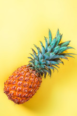 Pineapple on yellow background vertically