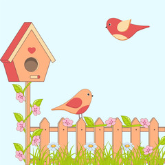 Cartoon family of birds with flowers and birdhouse.
