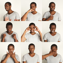 Set of black man's portraits with different emotions